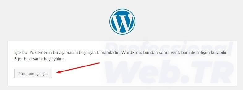 wordpress kurulumu çalıştır