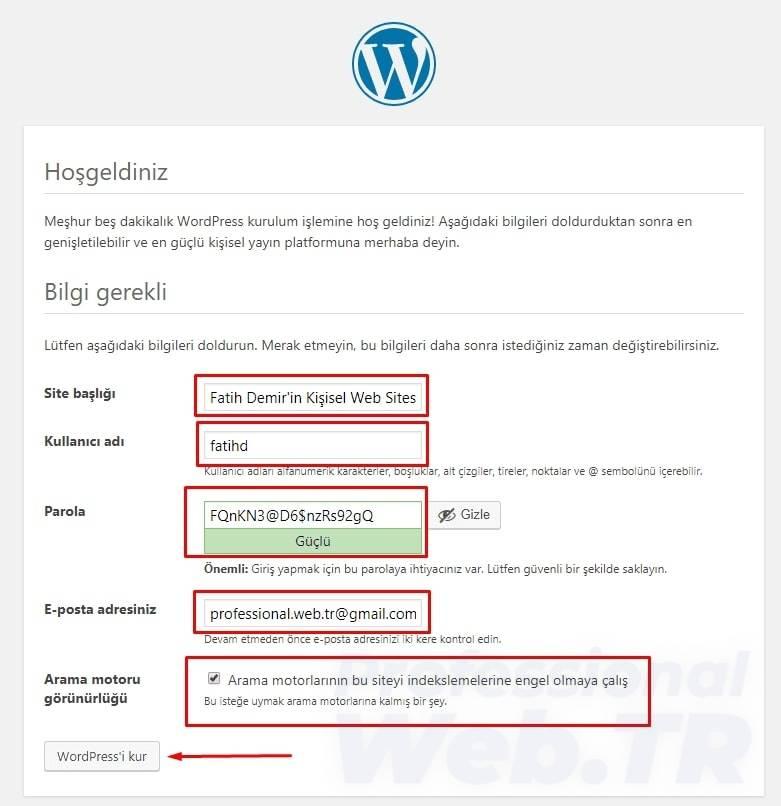 wordpress kuruldu ve admin giriş bilgilerinin girilmesi