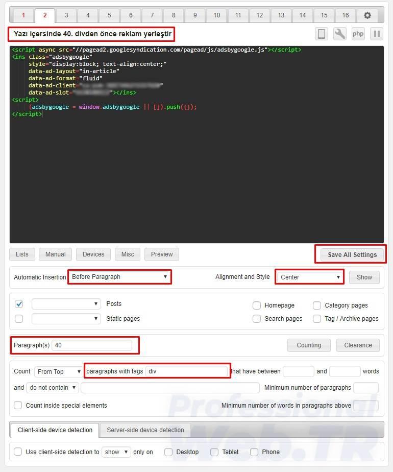 adsense reklam yerleşimi - yazı içersine otomatik ekle