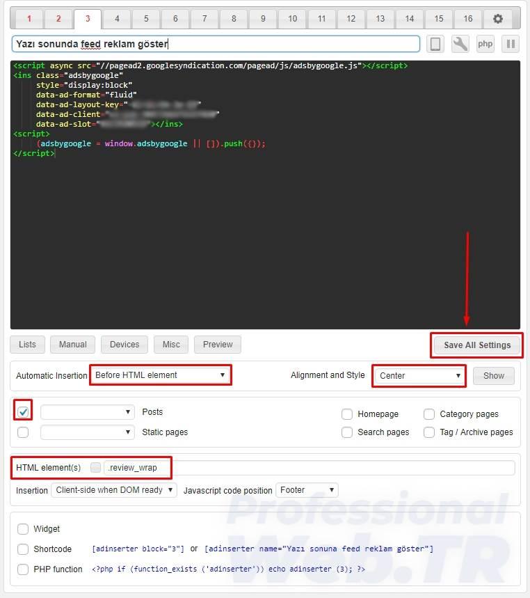 adsense reklam yerleşimi - yazı sonuna otomatik feed reklam ekle