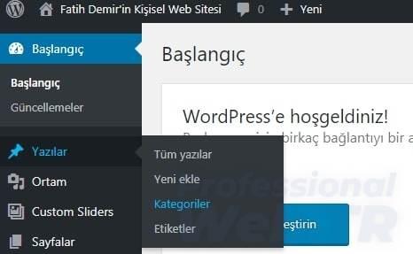 wordpress kategoriler sayfasına erişim