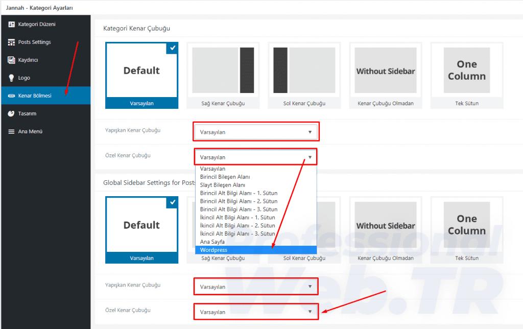 jannah kategori bazında sidebar özelleştirilmesi
